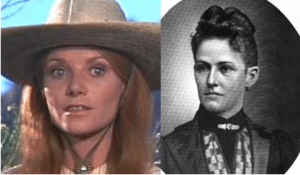 Left: Pamela McMyler as Sallie Chisum. Right: Sallie Chisum